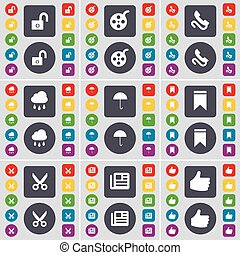 Lock, Videotape, Receiver, Cloud, Umbrella, Marker, Scissors, Newspaper, Like icon symbol. A large set of flat, colored buttons for your design. Vector