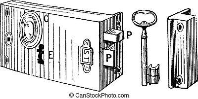 Lock, vintage engraving.