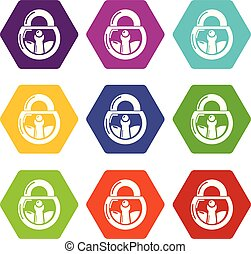 Lock vintage icons set 9 vector