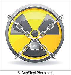 sign radiation - lock with chains on a sign radiation vector...