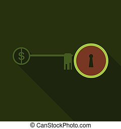 Lock with key flat vector icon. Sign dollar on key