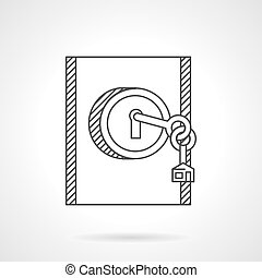 Lock with key line vector icon
