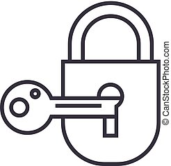 lock with key vector line icon, sign, illustration on background, editable strokes