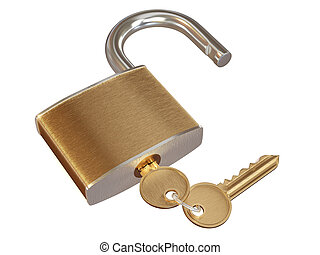 Lock with keys. 3d