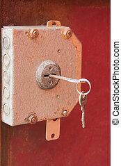 lock with the keys on door