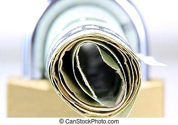Lock with US currency twenty dollar