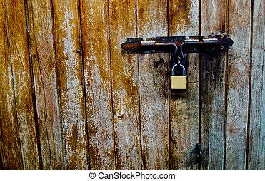 lock2, vecchio, legno, porta