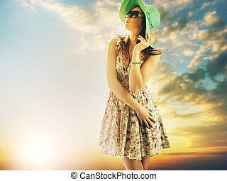 lockande, brunett, kvinna,  sky, bakgrund