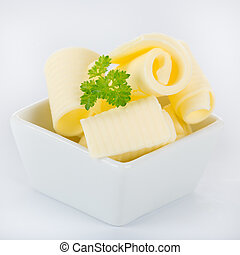 lockar, av, frisk, smör