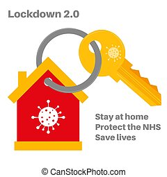 Lockdown 2.0 Virus Pandemic vector illustration on a house background with a virus and key logo