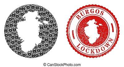 Lockdown Grunge Stamp and Lock Mosaic Hole Burgos Province Map