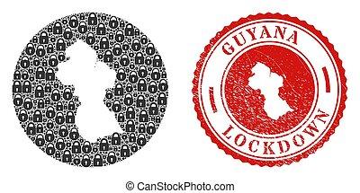 Lockdown Grunge Stamp and Lock Mosaic Stencil Guyana Map