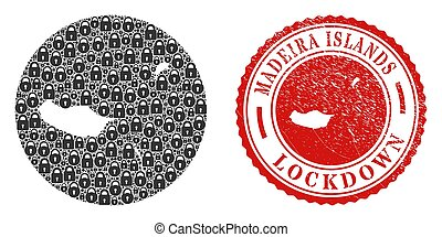 Lockdown Grunge Stamp and Lock Mosaic Subtracted Madeira Islands Map