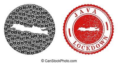 Lockdown Grunge Stamp and Locks Mosaic Hole Java Island Map