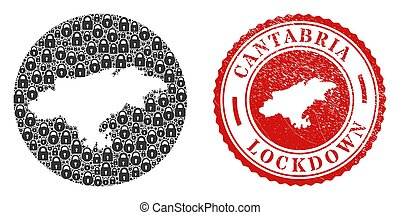 Lockdown Grunge Stamp and Locks Mosaic Inverted Cantabria Province Map