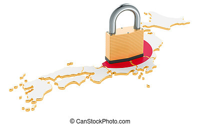 Lockdown in Japan. Padlock with map, border protection concept. 3D rendering