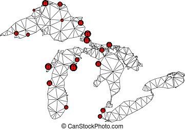 Lockdown Polygonal Network Mesh Vector Map of Great Lakes