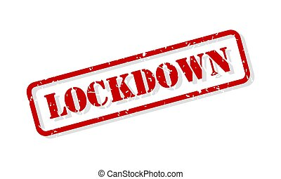 Lockdown concept in red rubber stamp vector isolated on white