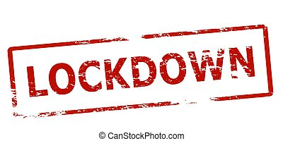 Rubber stamp with word lockdown inside, vector illustration
