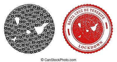 Lockdown Scratched Stamp and Locks Mosaic Subtracted Santa Cruz De Tenerife Province Map