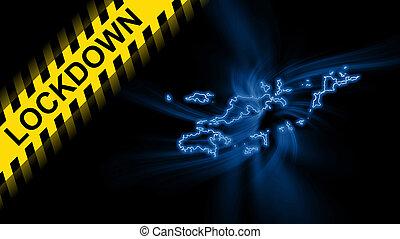 Lockdown Virgin Islands British, outline map Coronavirus, Outbreak quarantine, on dark Background