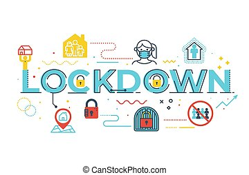 Lockdown word lettering illustration