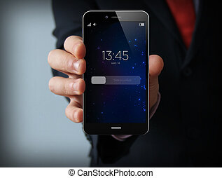 locked businessman smartphone