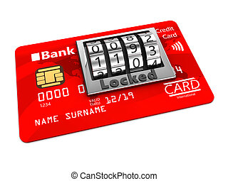 locked card - 3d illustration of credit card locked with pin...