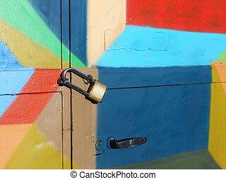 Locked colorful door