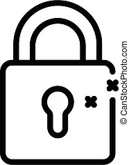 Locked digestion icon, outline style - Locked digestion icon...