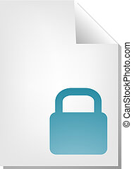 Locked document icon - Locked security document file type...