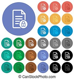 Locked document round flat multi colored icons