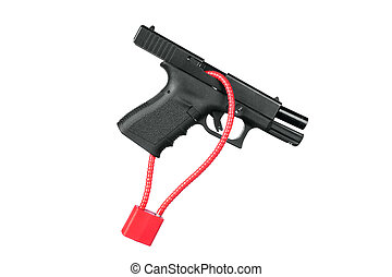 A hand gun firearm is locked with a safety cable to prevent anyone from firing the weapon.