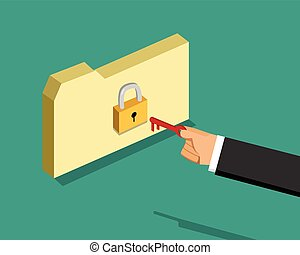 Locked folder and business man with key, vector