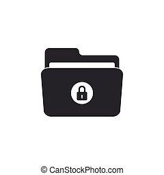 Locked folder icon isolated. Flat design. Vector Illustration