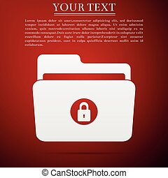 Locked folder icon isolated on red background. Flat design. Vector Illustration