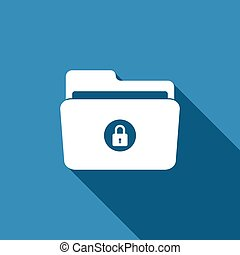 Locked folder icon isolated with long shadow. Flat design. Vector Illustration