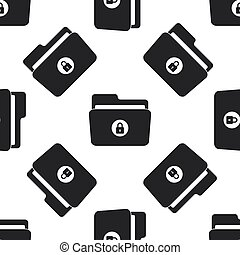 Locked folder icon seamless pattern on white background. Flat design. Vector Illustration