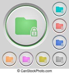Locked folder push buttons