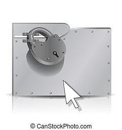 Locked folder - Security concept: locked metal folder. 3d, ...