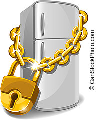 Refrigerator locked with chain. Diet concept. Vector illustration.