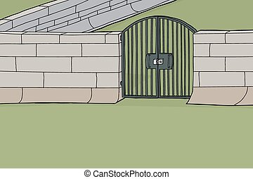 Locked Gate in Wall - Cartoon background of locked gate in...