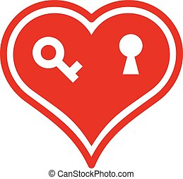 Locked heart icon, simple style