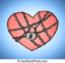 Locked heart with chains emblem vector illustration