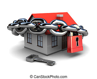 locked house - abstract 3d illustration of generic house...