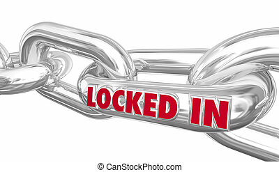 Locked In Chain Links Word Contract Trapped 3d Illustration