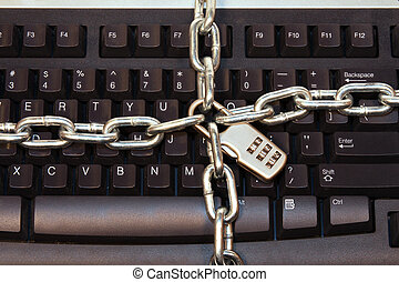 Locked Keyboard - Keyboard protected by lock and chain
