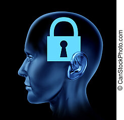 Locked Mind - Human head with a closed locked mind as an ...