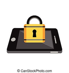 Locked mobile phone concept. Data private protection concept.
