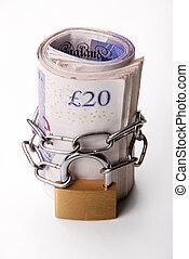 Locked money as a symbol of savings and guarantee